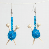 Sparkly Blue Knitting Earrings - Ball of yarn and miniature knitting needles