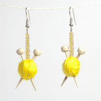 Yellow Knitting Earrings - Ball of wool and miniature knitting needles