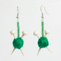 Green Knitting Earrings - Ball of wool and miniature knitting needles