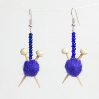 Purple Knitting Earrings - Ball of wool and miniature knitting needles