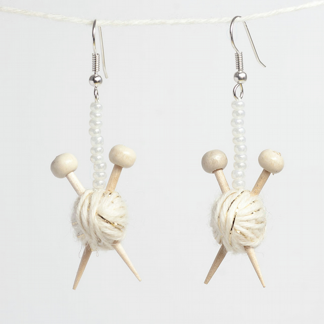 Sparkly White Knitting Earrings - Ball of wool and miniature knitting needles