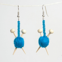Blue Yarn Knitting Earrings - Ball of wool and miniature knitting needles