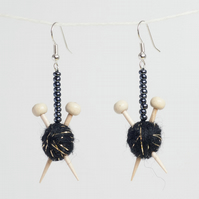 Sparkly Black Knitting Earrings - Ball of wool and miniature knitting needles