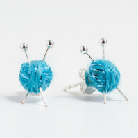 Sparkly Blue Knitting Earrings - Miniature ball of wool and knitting needles