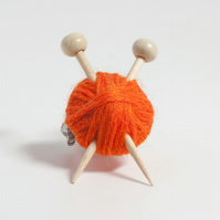Orange Knitter's Brooch - Yarn and Needles