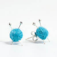 Blue Yarn Knitting Earrings - Miniature ball of wool and knitting needles