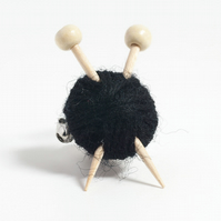 Black Knitter's Brooch - Yarn and Needles