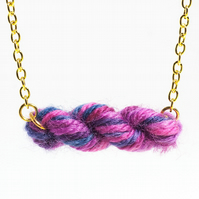 Purple Berries Skein of Yarn Necklace