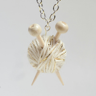 White & Gold Knitter's Necklace - Yarn and needles