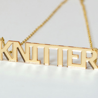 Gold Knitter  Statement Necklace - Laser Cut Acrylic
