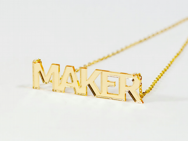 Gold Maker  Statement Necklace - Laser Cut Acrylic