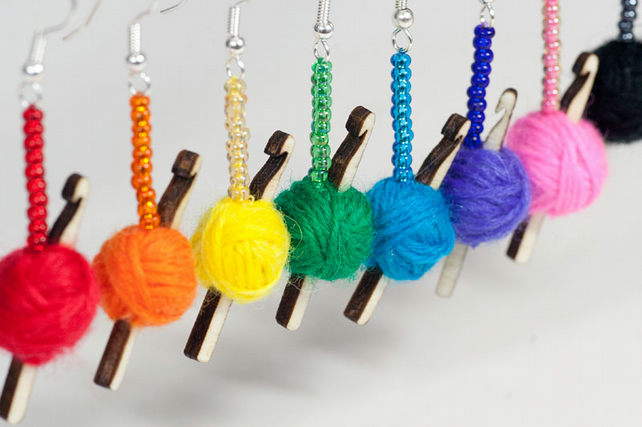 Crochet Hook & Ball of Yarn Earrings