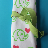 Handprinted Elephant Love Hearts pencil roll