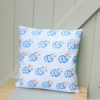 "Handprinted cushion cover with embroidered detail ""Elephant & Flowers"""