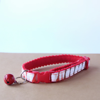 "Felt Handprinted Cat Collar ""Burnt Red"""