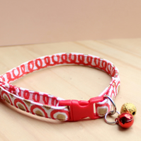 "Handprinted Fabric Cat Collar ""Party Polka"""