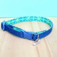 "Handprinted Felt Cat Collar ""Aqua Glitz"""