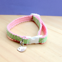 "Handprinted Felt Cat Collar ""Pretty Pink Garden"" with Bird Charm"