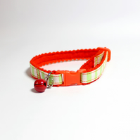 "Handprinted Felt Cat Collar ""Cantaloupe"""
