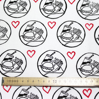 "Hand Block-printed Fabric ""Fast Food Lover"" 1 Metre"