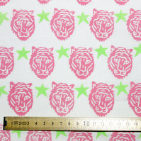 "Block-printed Fabric ""Tiger Party"" Pink and Lime"