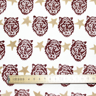 "Hand Block-printed Fabric ""Tiger Party"" Marsala and Gold 1 Metre"