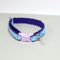 "Handprinted Felt Cat Collar ""Purple Space"" with star charm"