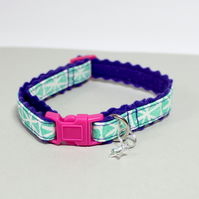 "Handprinted Felt Cat Collar ""Aqua Space"" with star charm"