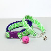 "Cat Collar and Friendship Bracelet Set ""Cabbage"""