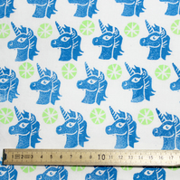"""Unicorn Lime"" Hand Block-printed Fabric"