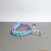 "Cat Collar and Friendship Bracelet Set ""Bright Sky"""