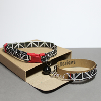 "Cat Collar and Friendship Bracelet Set ""Midnight"""