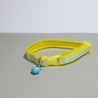 "Handprinted Felt Cat Collar ""Citron"""