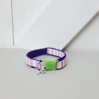 "Handprinted Felt Cat Collar Purple ""Jolly Rock"""