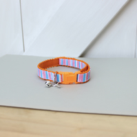 "Handprinted Felt Cat Collar Orange ""Jolly Rock"""