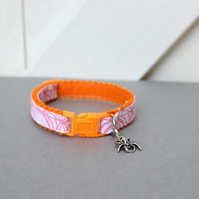 "Halloween Safety Breakaway Felt Cat Collar ""Orange Halloweb"""