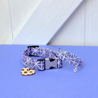 "Handprinted Fabric Dog Collar and Bracelet ""Purple Sky"""