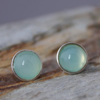 Sterling Silver Sea Blue Agate Stud Earrings 6mm