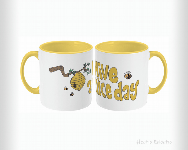 Bee-rilliant 'Hive A Nice Day' mug - yellow