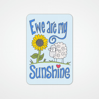 You are my Sunshine, sheep and sunflower wallet card