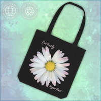 Perfectly Imperfect - flower design - cotton tote bag