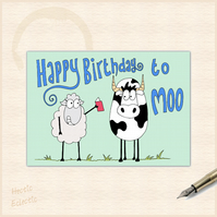 Happy Birthday to Moo - cartoon cow and sheep card