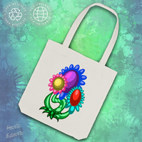 Abstract Flowers organic cotton tote bag