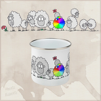 Be Yourself, stand out from the crowd, rainbow sheep enamel mug