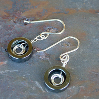 Sterling Silver earrings with Haematite Rings (E972)