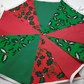 Christmas  Fabric Bunting 10ft 3 mtrs Red Green Holly