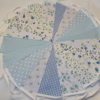 Bunting 40ft 12 metres single sided shabby chic Wedding party BLUE