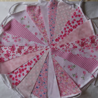 Bunting 60ft 18 metres single sided shabby chic Wedding party PINK 60