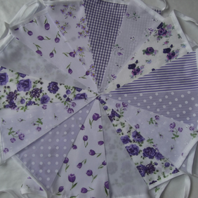 Bunting 20ft 6 metres Lilac single sided shabby chic Wedding party LILAC 20