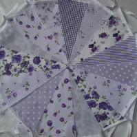 Bunting 60ft 18 metres Lilac single sided shabby chic Wedding party LILAC 60